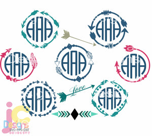 Arrow Monogram Frame SVG, EPS, DXF and PNG - JenCraft Designs