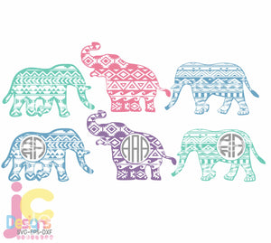 Aztec Elephant Monogram Frame SVG, EPS, DXF and PNG - JenCraft Designs