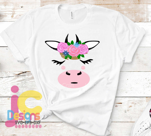Floral Cow Face SVG, EPS, DXF and PNG - JenCraft Designs