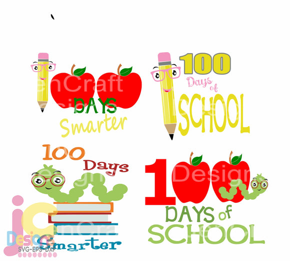 100 days of School SVG, EPS, DXF and PNG - JenCraft Designs