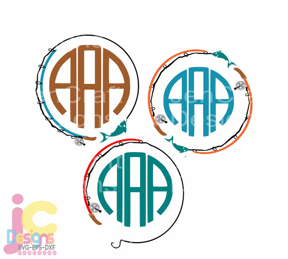 Fishing Pole Monogram Frame SVG, EPS, DXF and PNG - JenCraft Designs