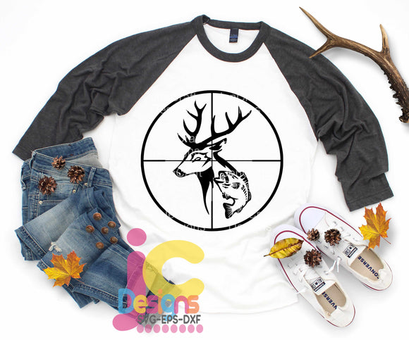 Fish with Deer in crosshairs SVG, EPS, DXF and PNG - JenCraft Designs