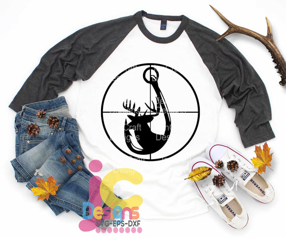 Deer and Hook in Gun Sights SVG, EPS, DXF and PNG - JenCraft Designs