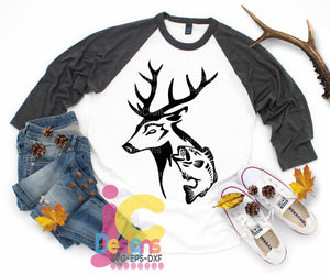 Deer Antlers Hunting Fish with Deer SVG, EPS, DXF and PNG - JenCraft Designs