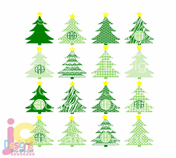 Christmas Tree Monogram Frame SVG, EPS, DXF and PNG - JenCraft Designs