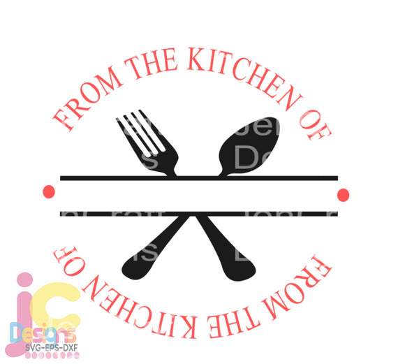 Split Kitchen Family Monogram Frame SVG, EPS, DXF and PNG - JenCraft Designs