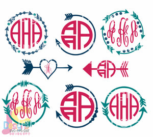Tribal Arrow Monogram Frame SVG, EPS, DXF and PNG - JenCraft Designs