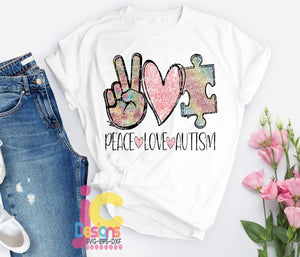Peace Love Autism PNG Sublimation Autism Awareness PNG, Digital Download, Peace Love Autism Sublimation, Glitter Autism png - JenCraft Designs