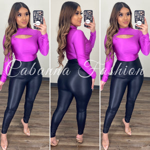 Don't Be Basic Bodysuit - (Fuchsia)