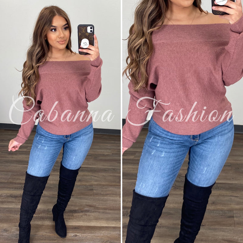 Cozy Gal Sweater Top - (BERRY)