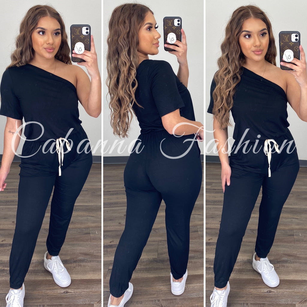 Chill Mode Jumpsuit - (BLACK)
