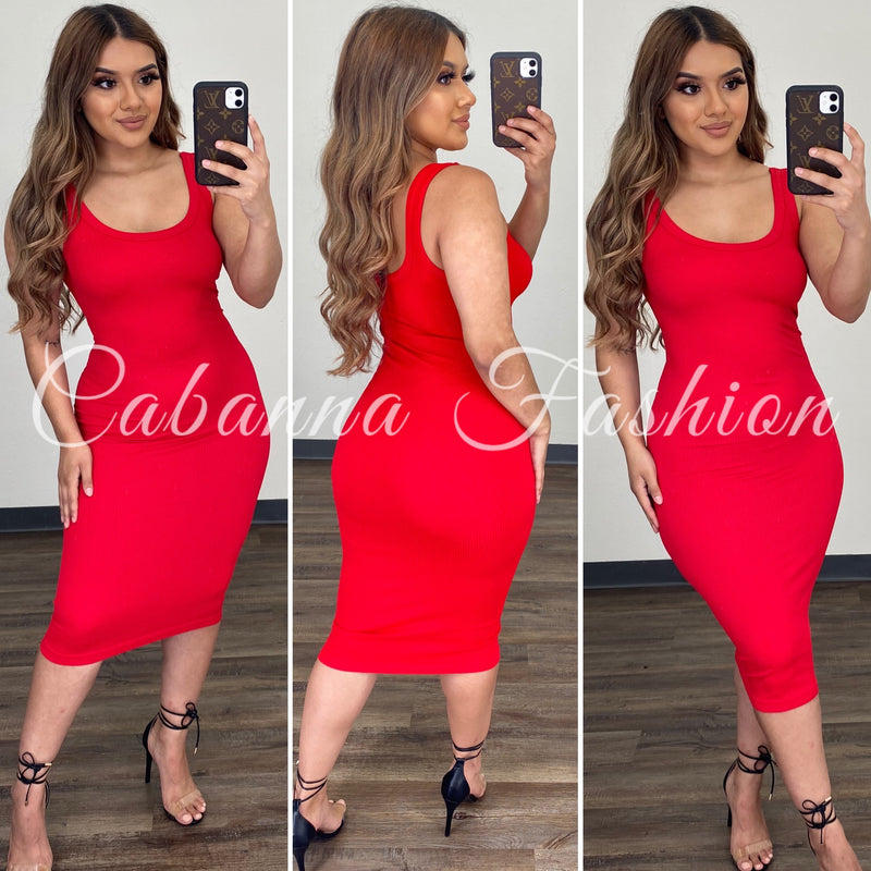 Shelby Tank Dress - (RED)