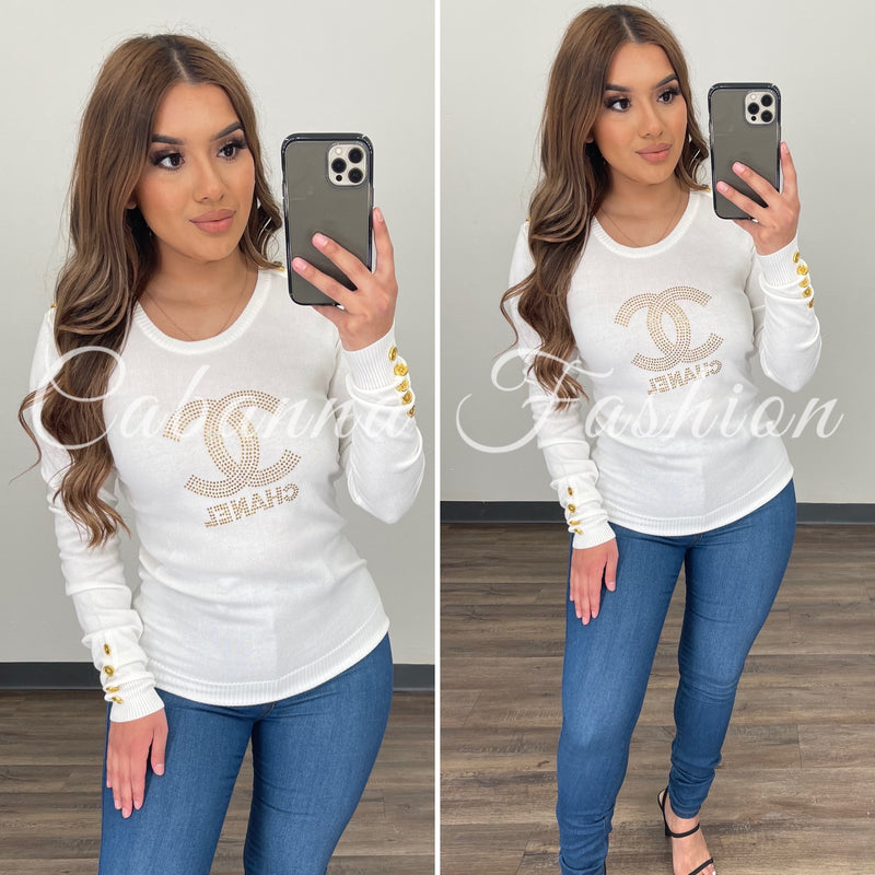 Carol CC Sweater Top - (IVORY)