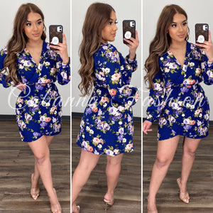 Marisa Floral Dress - (NAVY/ FLORAL)
