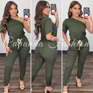 Chill Mode Jumpsuit - (OLIVE)