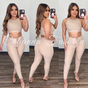 Paola Ribbed Set - (TOFFEE)