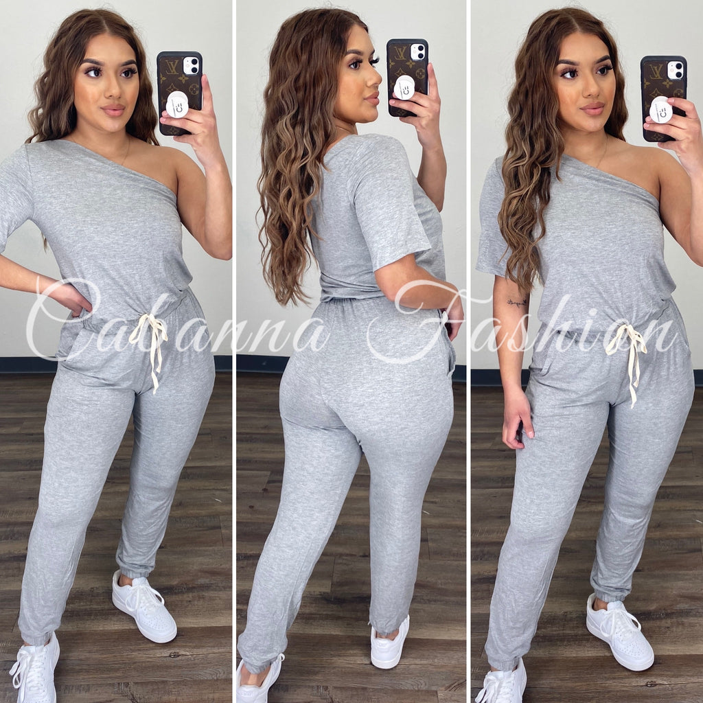 Chill Mode Jumpsuit - (HEATHER GREY)