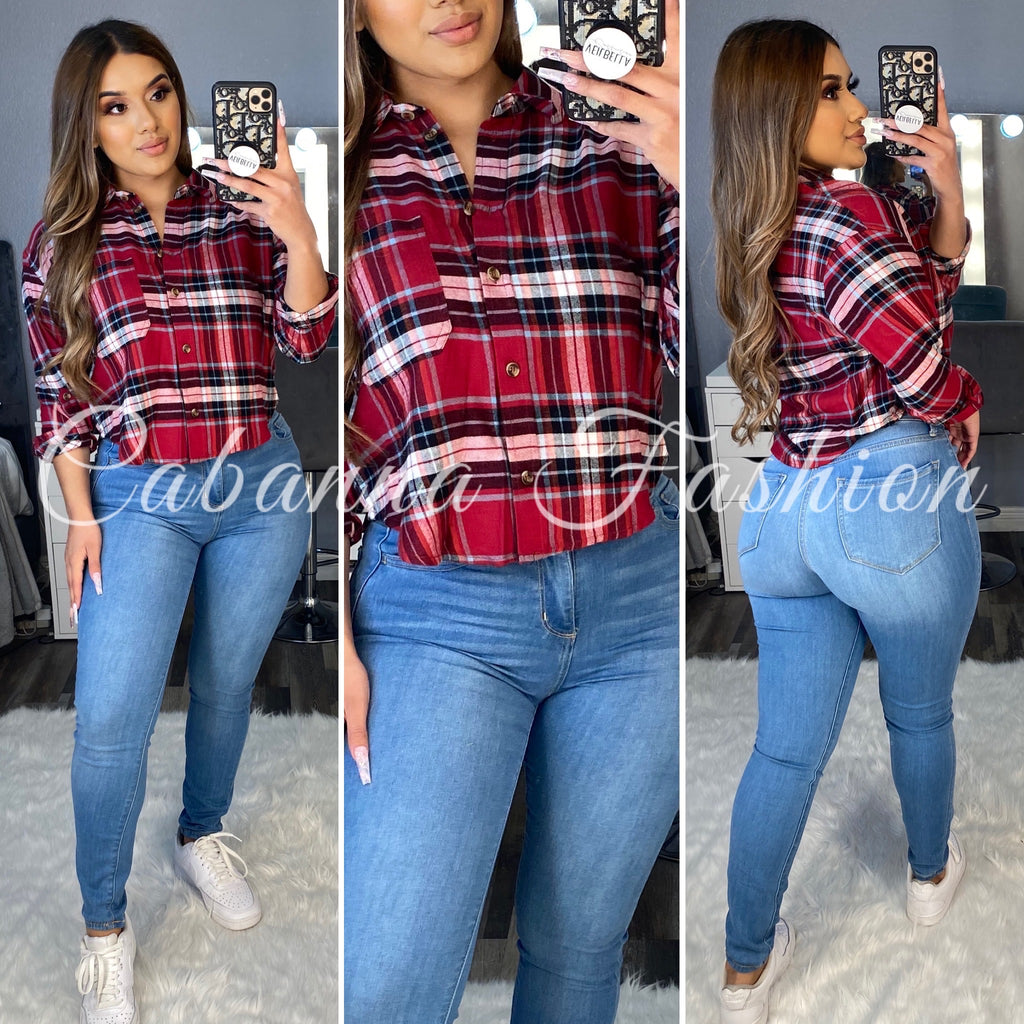 September Short Plaid Top - (RED)