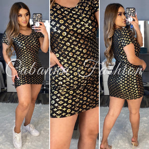 GOLD BLACK LV MINI DRESS
