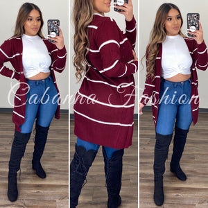Santana Stripped Cardigan - (BURGUNDY/WHITE)
