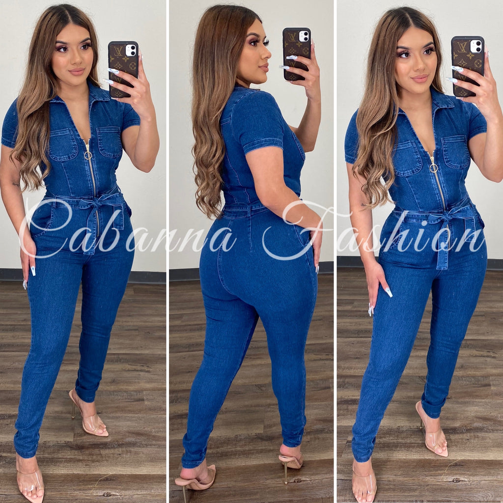 Virgo Season Denim Jumpsuit - (DARK DENIM)