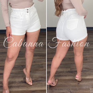 Taylor Paper Bag Shorts - (WHITE)