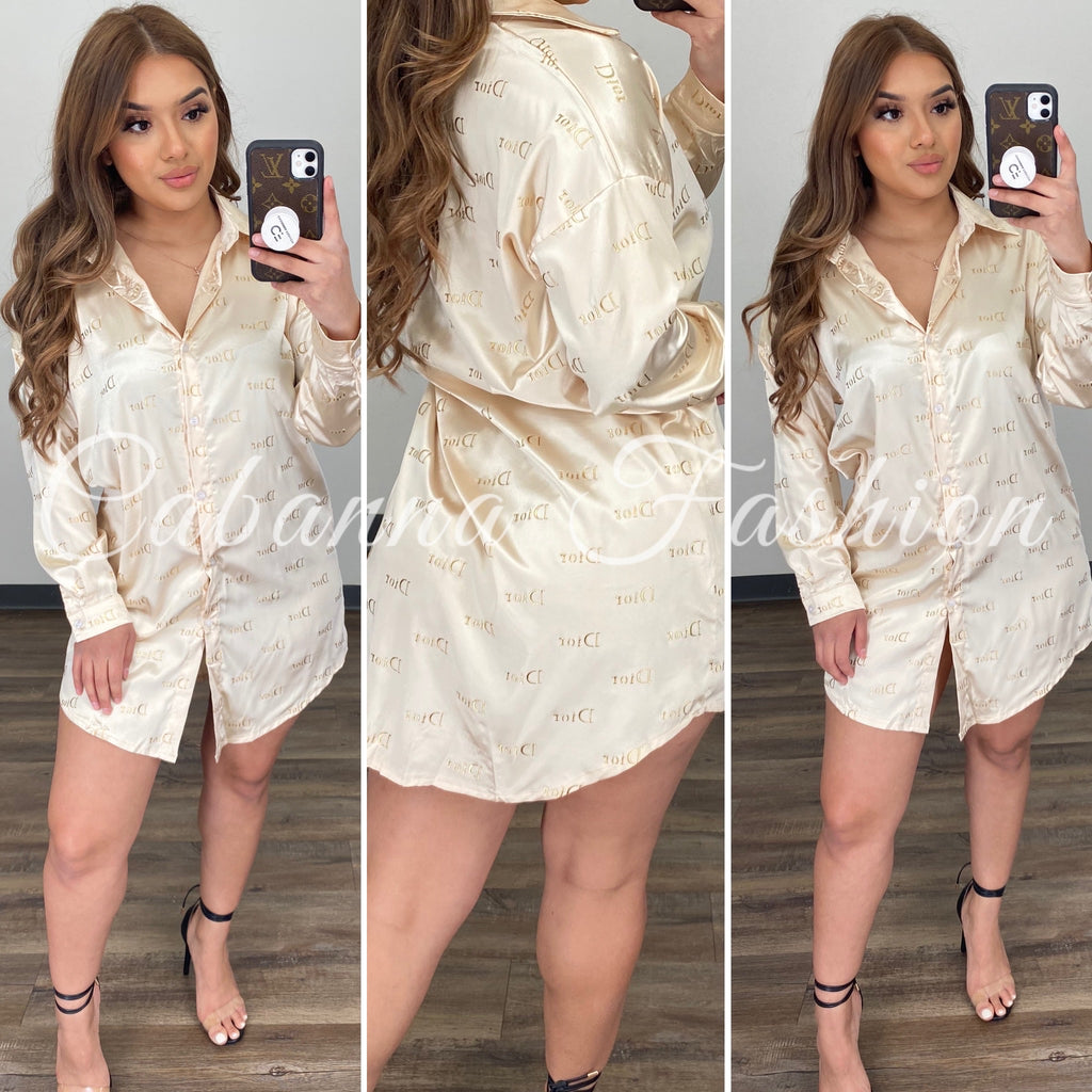ROID SATIN BLOUSE - (GOLD)
