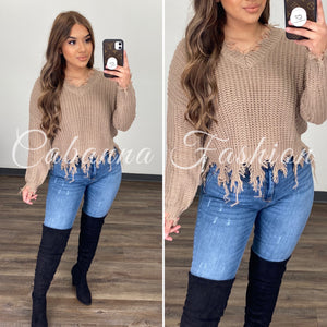Distressed Mess Sweater Top - (TAUPE)