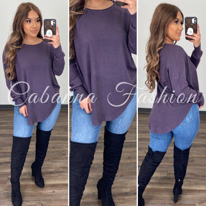 Chilly Mornings Sweater Top - (PURPLE)