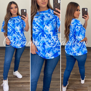 Tie Dye Oversized Top - (BLUE)