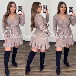 Emma Knitted Mini Dress - (DUSTY TAUPE)