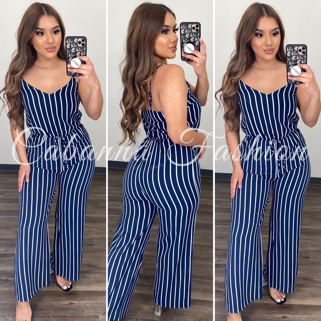 Odalis Stripped Jumpsuit - (NAVY BLUE)