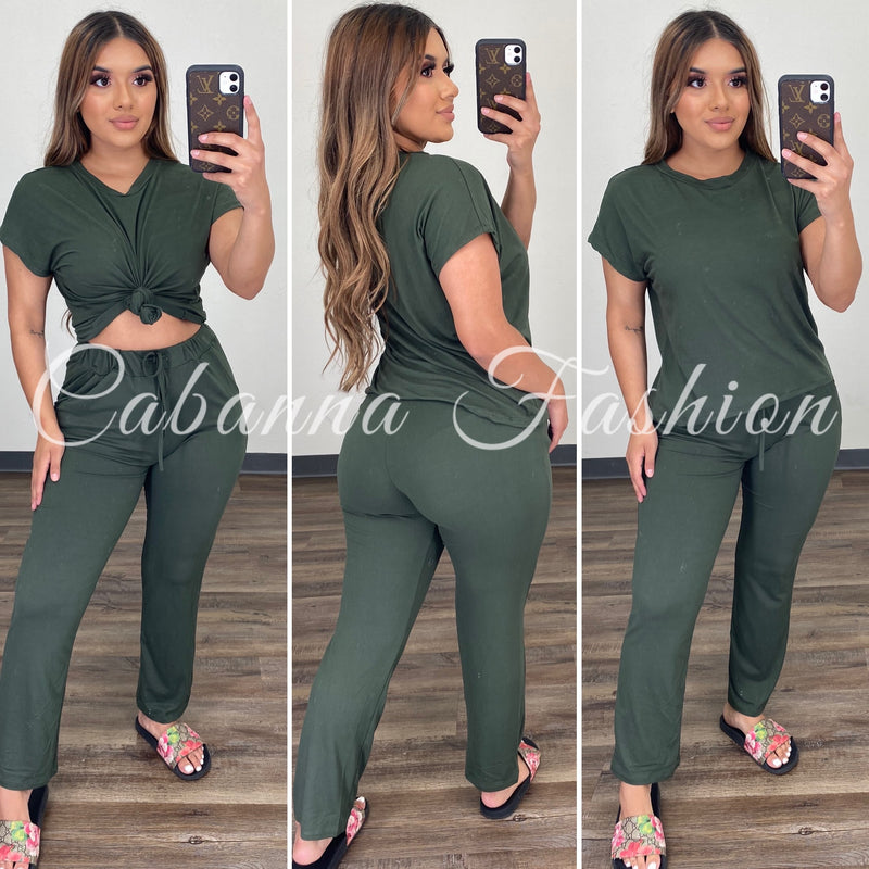 Roxanna Chill Set - (OLIVE)