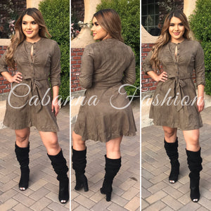 Franco Suede Dress - (OLIVE)
