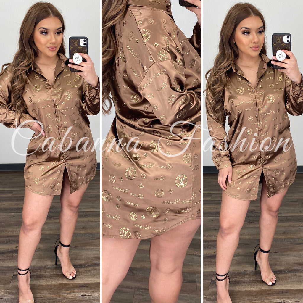 Circle LV BLOUSE - (BROWN)