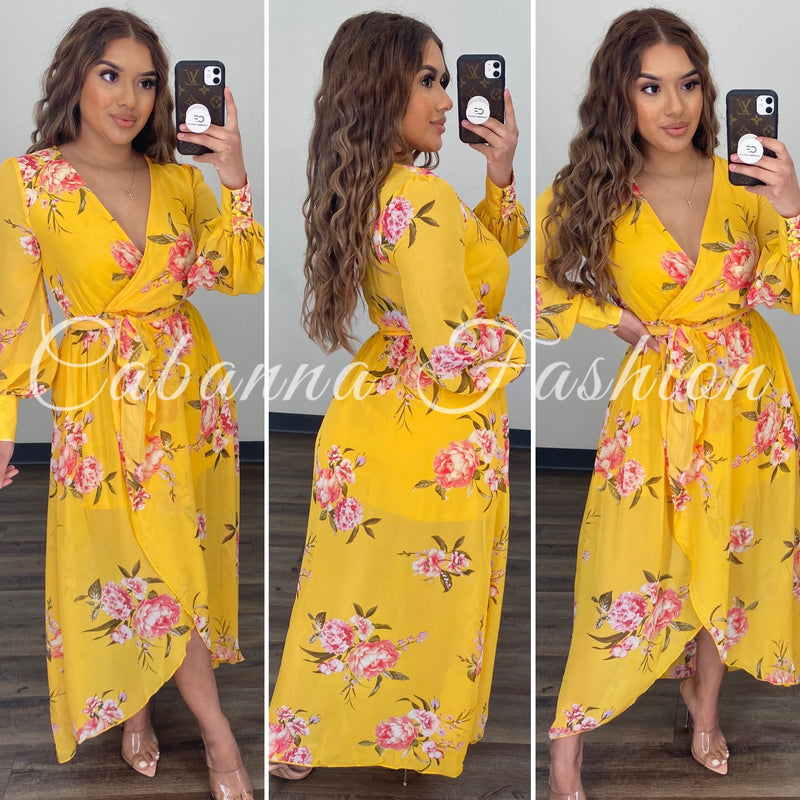 FLOWER Rush Maxi Dress - (YELLOW)