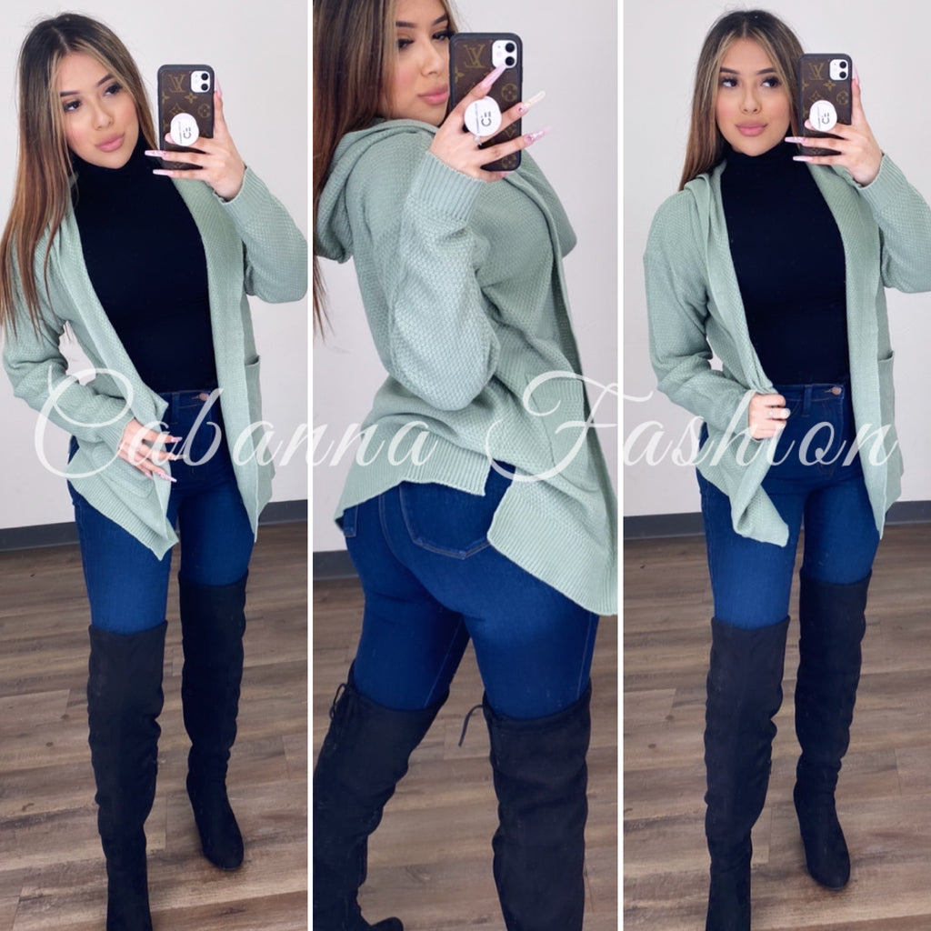 Chill With Me Cardigan - (Green)