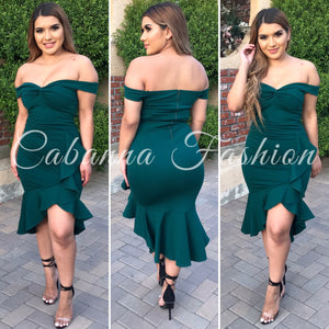 A Date With Babe Couture Dress - (HUNTER GREEN)