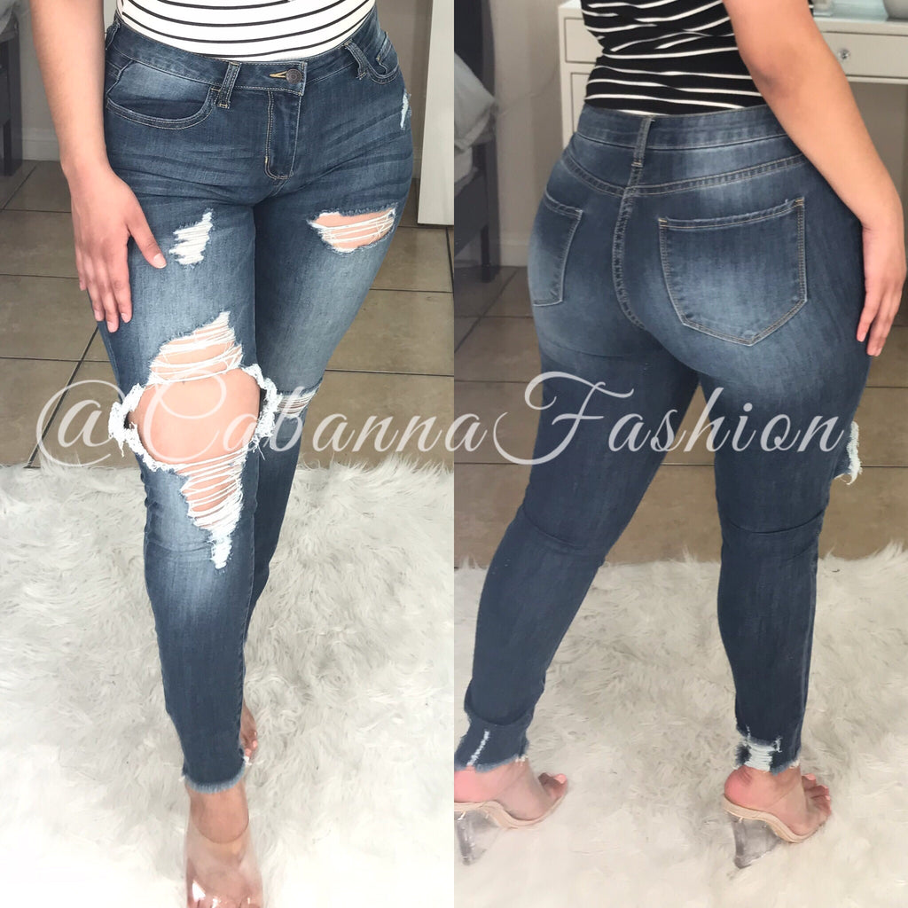Busy & Distressed Mid Rise Jeans