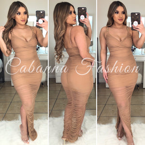 Shai Ruched Dress - (TAUPE/NUDE)