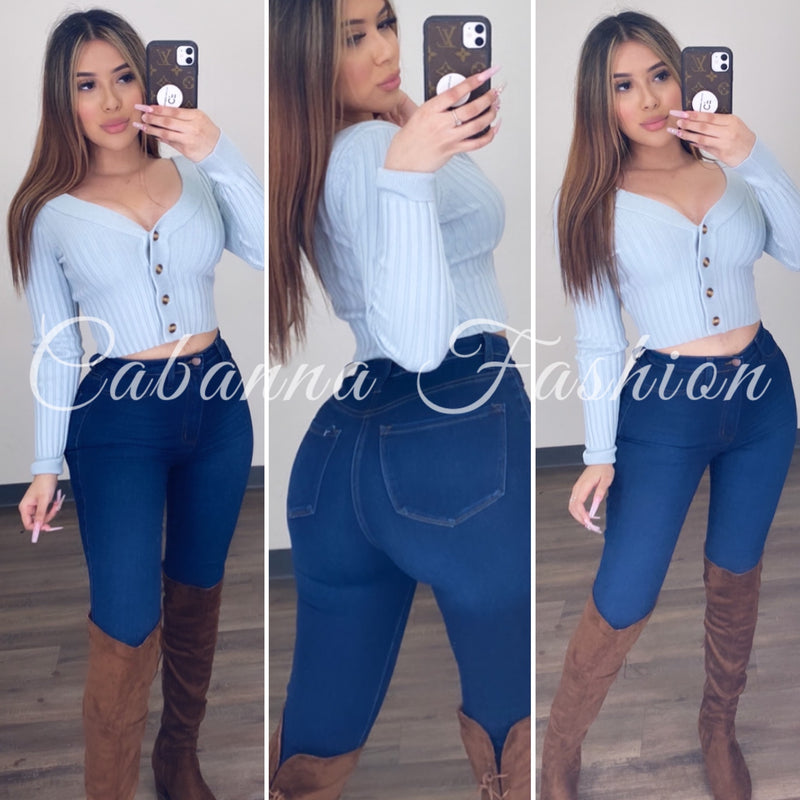 Adrienne Sweater Crop Top - (Blue)