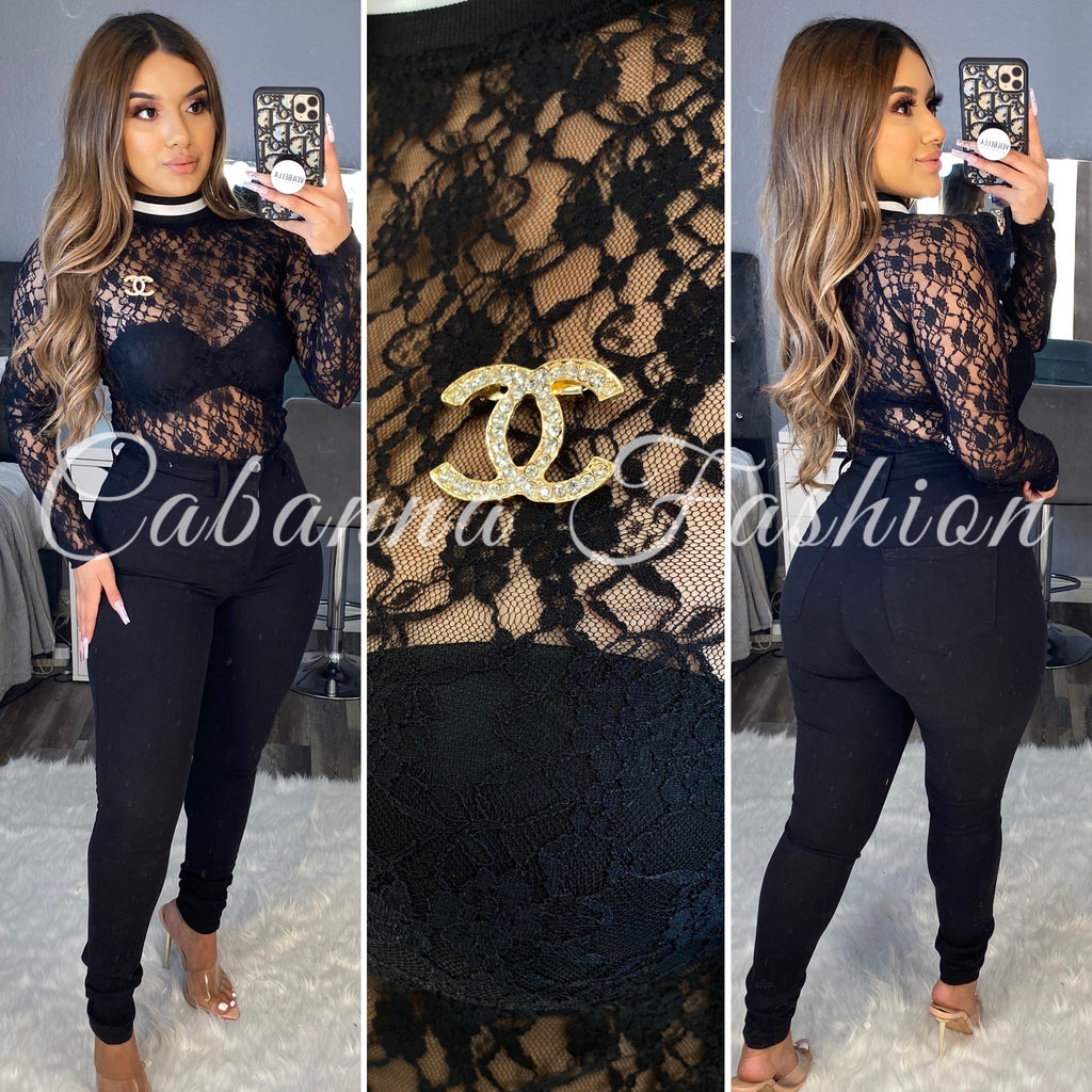 Cecy Lace Bodysuit - (BLACK)