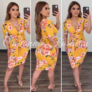 Chelsie Floral Dress - (YELLOW)