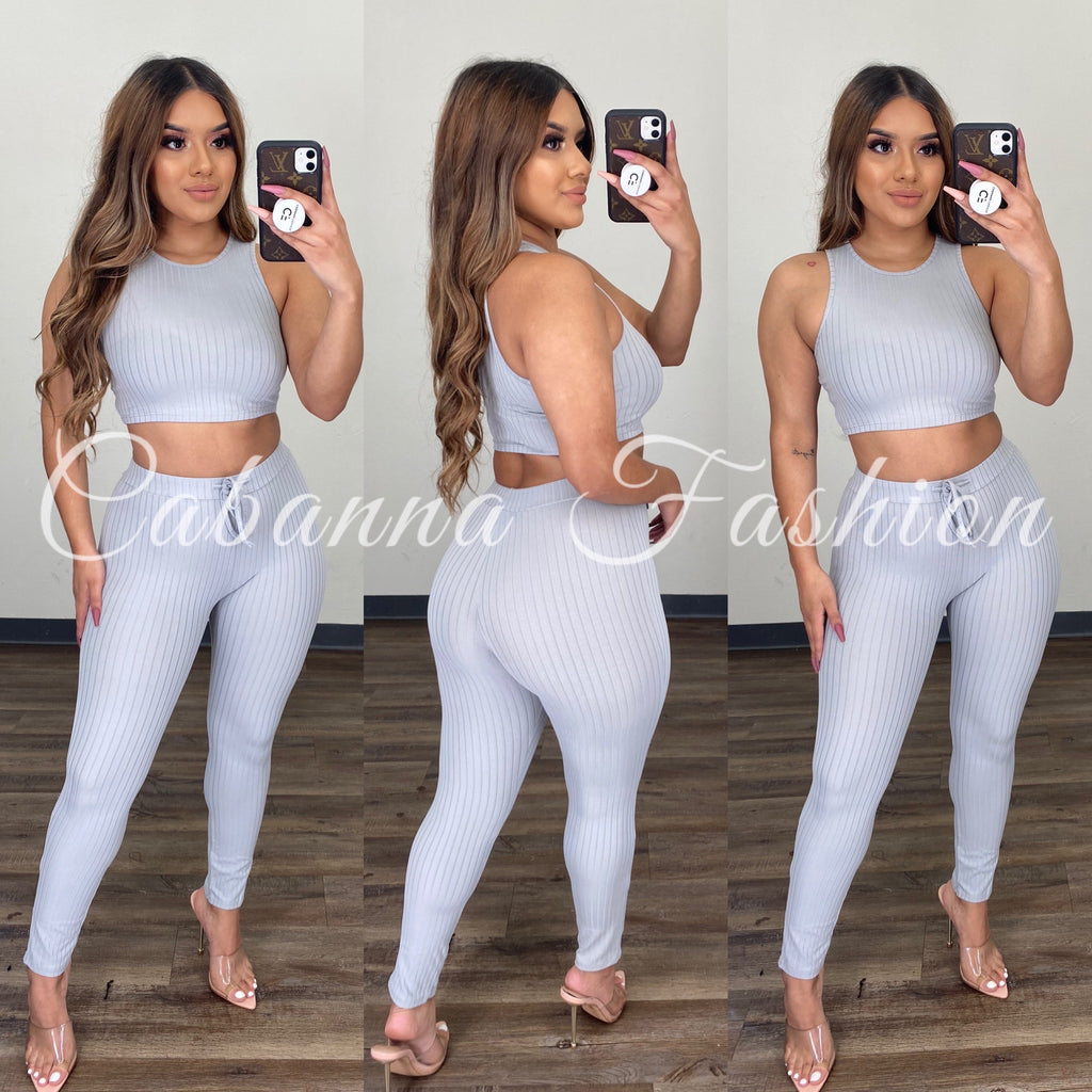 Paola Ribbed Set - (GREY)