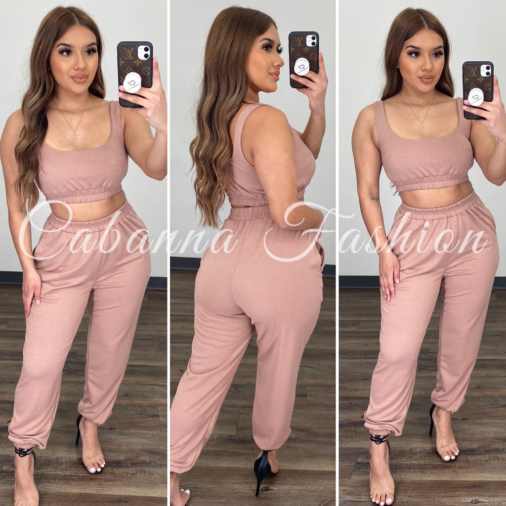 Kimmy Jogger Set - (TAUPE)