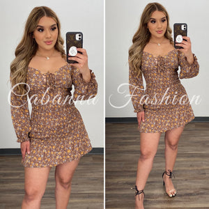 Erica Dress - (BROWN)