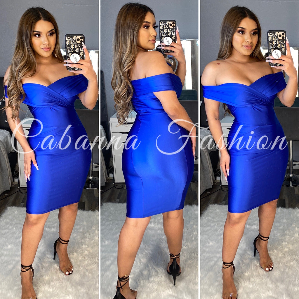 Nicie Midi Dress - (ROYAL BLUE)