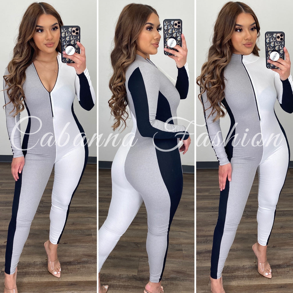 Casual Day Color Block Jumpsuit - (GREY/BLACK)