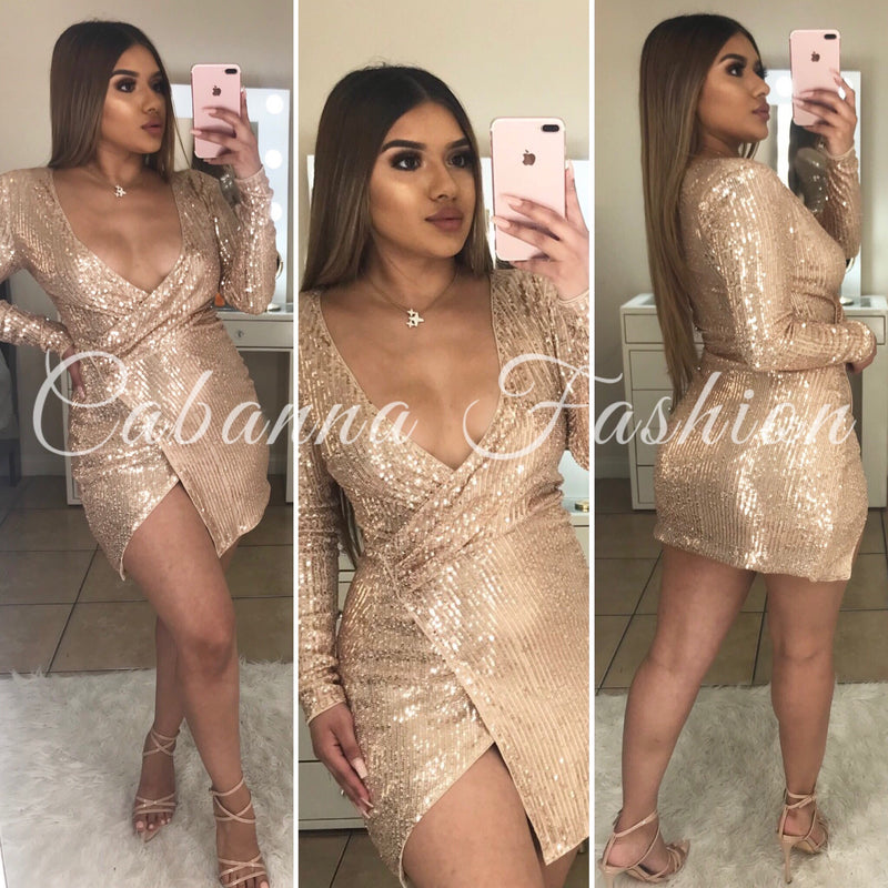 Shinning Babe Sequin Dress - (ROSE GOLD)