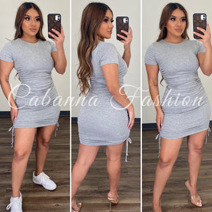 Jasper Ruched Dress - (HEATHER GREY)